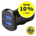 USB oplader til bilen, dobbelt - Spar 10%