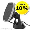 Magnetisk mobilholder m/oplader Qi 10W og sugekop - spar 10 %